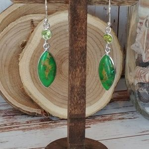 Jewelry - Green Mohave Turquoise & Peridot Earrings
